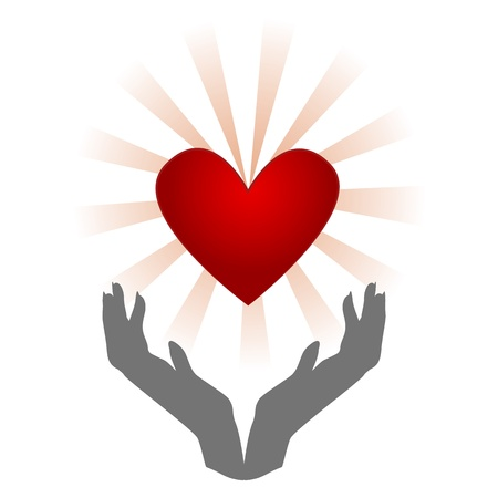 Organ donation/Silhouette of hands holding heart with burst behind it, isolated on white Stock Photo - 16784678
