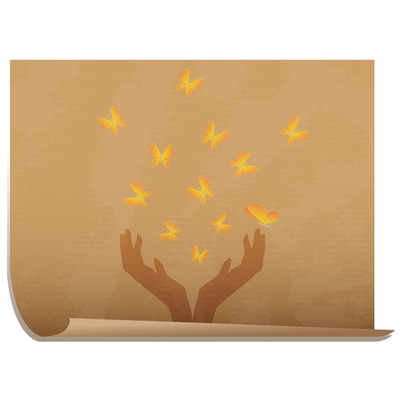 Hands full of butterflies/Old paper icon with hands releasing butterflies Stock Vector - 16784683
