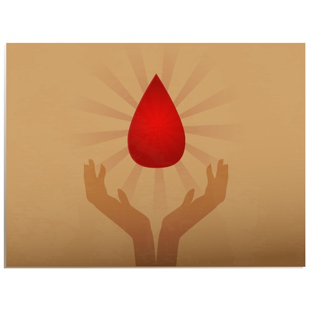 Blood donation/Old paper icon with hands holding drop of blood, with burst behind it Stock Vector - 16784686