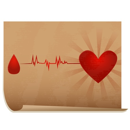 Blood donation/Old paper icon with drop of blood going with ecg to heart Stock Vector - 16784687