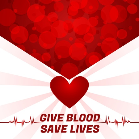 Give Blood, Save LivesAbstract blood-cells pointing to heart background,  Vector