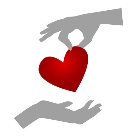 Orgaandonatie  Silhouetten van handen een gevende hart, de andere het ontvangen van