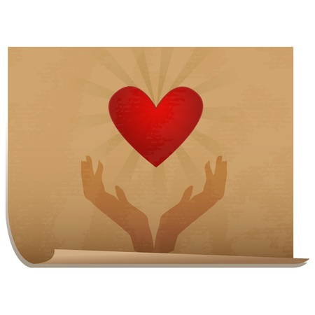 Organ donation/Silhouette of hands holding heart with burst behind it, icon on old paper Stock Vector - 16784684