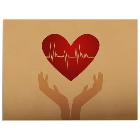 hjärtslag: Heartbeat  Silhouette händer håller hjärtat med EKG inne på gamla papper bakgrund