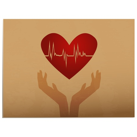 HeartbeatSilhouette of hands holding heart with ecg inside on old paper background Vector