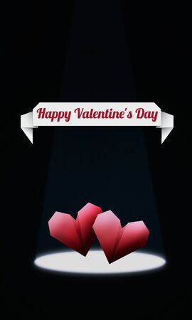 Origami Hearts/ Elegant Valentine's Day background, with red origami hearts in spotlight