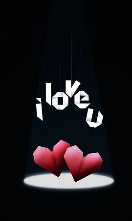 i love u: Coeurs Origami  Day background �l�gante Saint-Valentin, avec les coeurs rouges d'origami en sc�ne et texte origami i love u Banque d'images