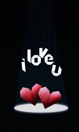 i love u: Origami Hearts Elegant Valentines Day background, with red origami hearts in spotlight and origami text i love u