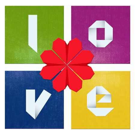 Colorful Valentine's day composition/Colorful composition with shapes,hearts and origami text