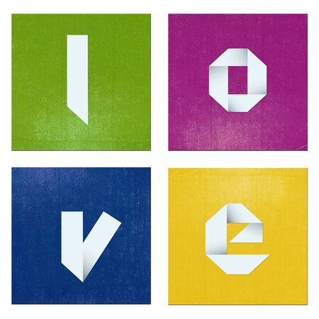 Colorful love/Colorful composition with shapes and origami word  Stock Photo - 17132151