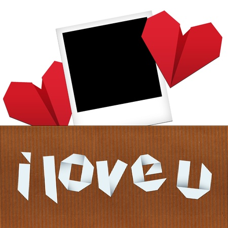 Place the photo of your loved/Composition for Valentine's day with photograph, two origami hearts and origami text