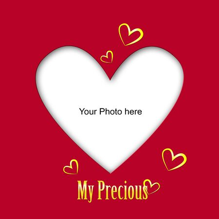 Place the photo of your love/Valentine's day  photoframe with golden hearts and text Stock Photo - 17132144