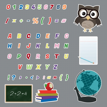 Colorful alphabet letters stickers/Colorful alphabet and various icons (owl,globe,chalkboard,books,notepad)stickers  Stock Vector - 17598452