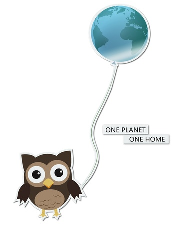 One planet one homeFun illustrationsticker of owl holding earth-balloon, for Earth day illustration