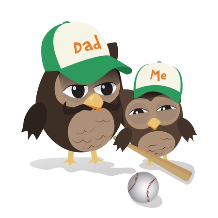 Cute illustration of father and kid owl ready for baseball play Vector