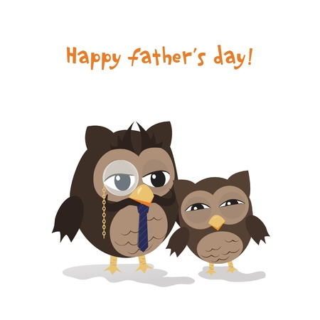 Cute illustration of happy father and kid owl Stock Vector - 18141168