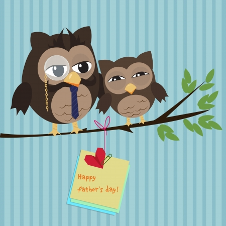 Cute illustration of happy father and kid owl  Stock Illustratie