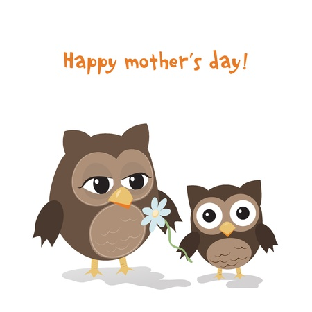 Mothers day owlCute illustration of happy mother and kid owl isolated on white