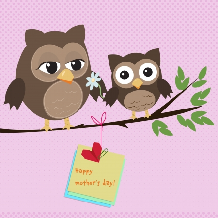 Mothers day owlCute illustration of happy mother and kid owl sitting on tree branch Illustration
