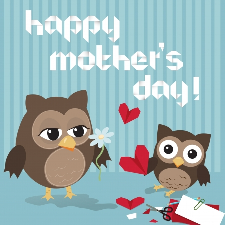 mama: Mothers day owlCute illustration of happy mother and kid owl crafting origami hearts