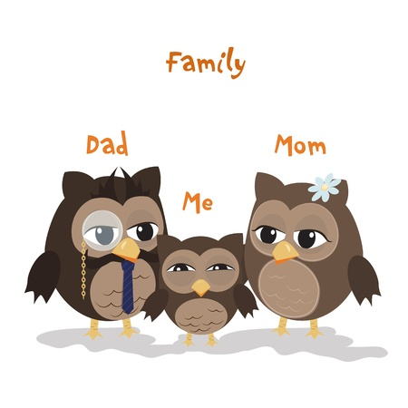 Mon,Dad and Me/Cute illustration of happy owl family