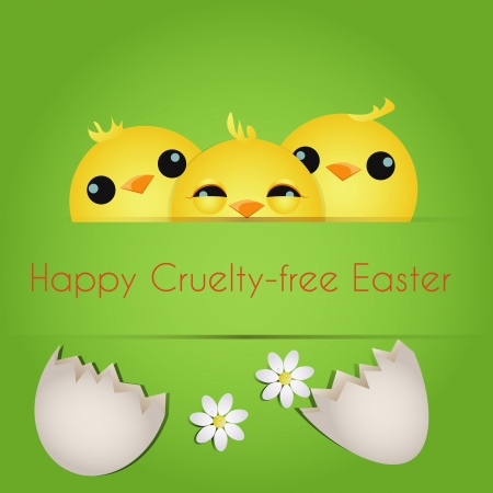 Happy Cruelty-free Easter/Vegan Easter card with three cute chicks. Stock Photo - 18311790