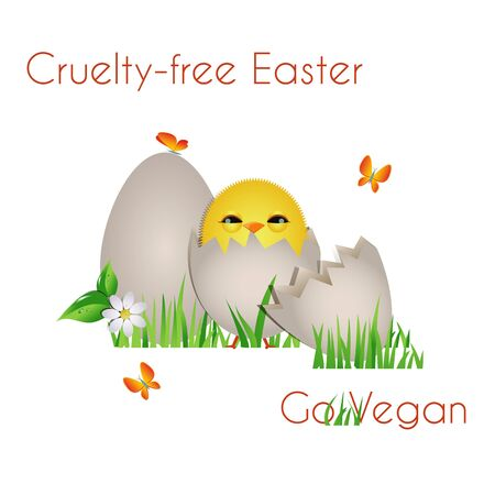 Happy Cruelty-free Easter/ Cute chick with eggs, butterfly,grass and flower, with Vegan text Stock Photo - 18311783