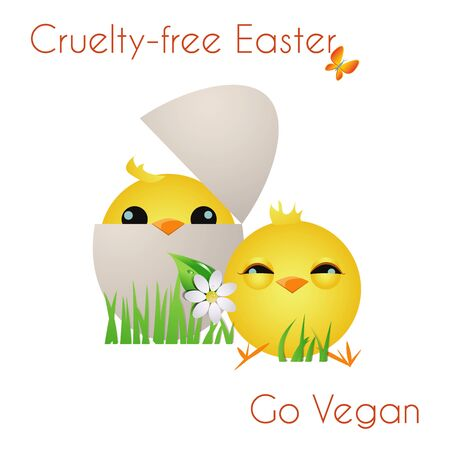 Happy Cruelty-free Easter/Two adorable chicks with grass,flower,butterfly and Go vegan text Stock Photo - 18311791