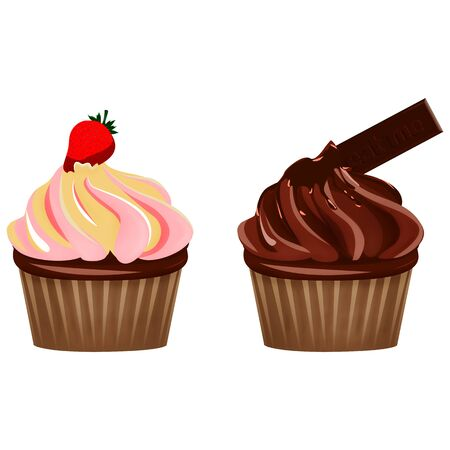 cupcakes isolated: Delicious strawberry and dark chocolate cupcakes, isolated on white Stock Photo