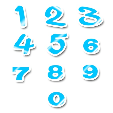 numerical value: Numbers stickers isolated on white