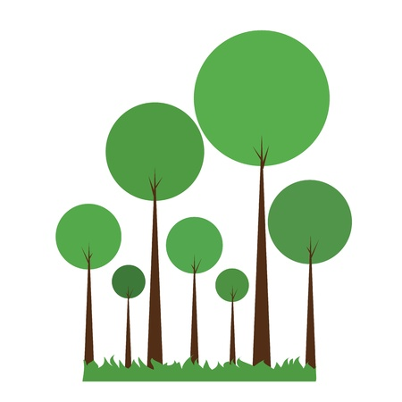 Green abstract trees on white Vector