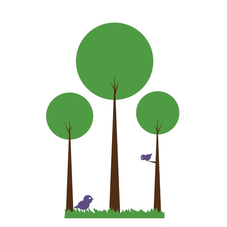 Green abstract trees with birds on white Vector