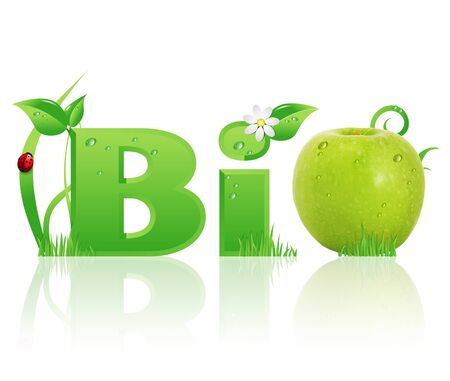 Word Bio ecological design, with floral elements and a green apple instead of letter  O   isolated photo