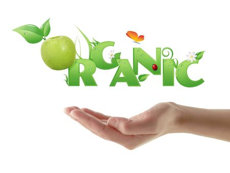 Hand holding word  Organic  ecological design, with floral elements and a green apple instead of letter  O   isolated  photo