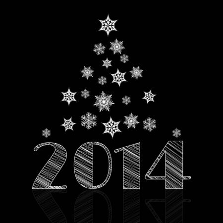 Minimal Happy New Year background with snowflakes shaping tree and 2014 text with reflection on black photo