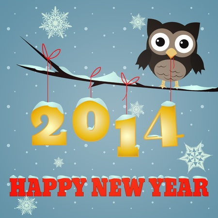 Little brown owl on branch and snowy 2014 happy new year text