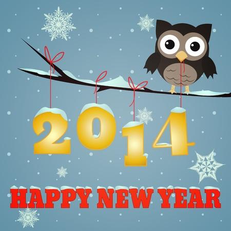 Kleine bruine uil op tak en besneeuwde 2014 Gelukkig Nieuwjaar tekst Stockfoto - 19468393