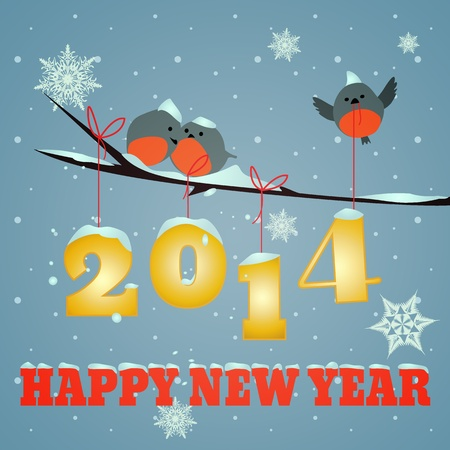 Little birdies on branch and snowy 2014 happy new year text
