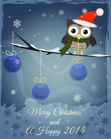 Little brown owl on snowy branch and happy new 2014 text  photo