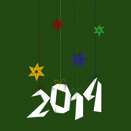 Minimal Happy New Year background Minimal Happy New Year background with colorful origami snowflakes and 2014 text photo