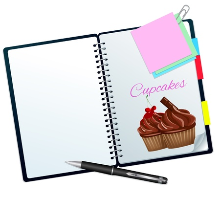 Recipe book ilustrated with cupcakes isolated on white Stock Photo - 20356995