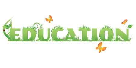 recourse: Green Education Education text decorated with,flowers,water drops and ladybug  isolated on white