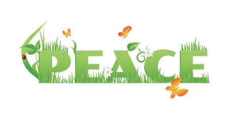 recourse: Peace Peace text decorated with,flowers,water drops and ladybug  isolated on white