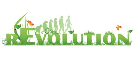 Green Texto Revolución rEvolution decorado con, flores, gotas de agua, mariquita y mono de siluetas de hombre, aislado en blanco Ilustración de vector