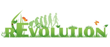 Green rEvolution Revolution text decorated with,flowers,water drops, ladybug and ape to man silhouettes, isolated on white