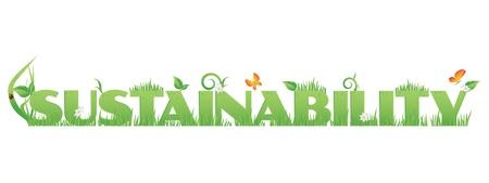 sustentabilidad: Texto Sostenibilidad Sostenibilidad verde decorado con, flores, gotas de agua y Mariquita aislados en blanco Vectores