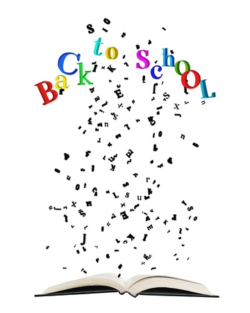 bibliophile: Opened book with letters bursting out of it Opened book with letters bursting out of it, some spelling colorful  Back to school  isolated on white
