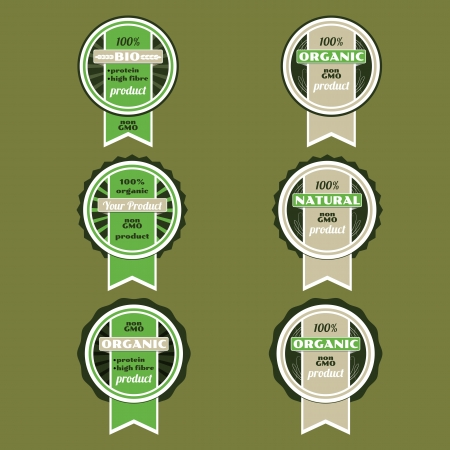 Set of bio badges set of green bio organic eco badges Vector