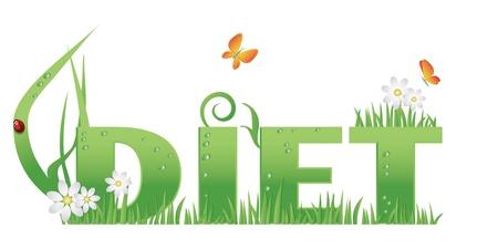 pesticida: Dieta texto decorado con flores, hierba, gotas de agua y Mariquita, aislado Vectores