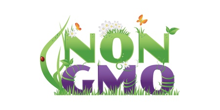 Non GMO  Non GMO text decorated with flowers,grass,water drops and ladybug, isolated on white Vector